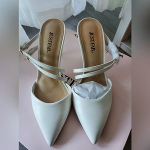 White Mules with Double Strap